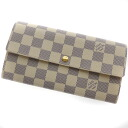 Authentic LOUIS VUITTON  Portefeiulle · Sarah N61735 (With Coin Pocket) Long Wallet Damier canvas