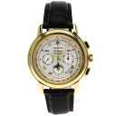 Authentic ZENITH Chronomaster El Primero Moon Phase Overhauled Watch 18K yellow gold Leather an automatic Men