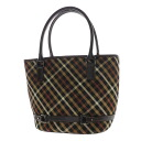 Authentic DAKS  Check pattern Handbag Leather x canvas
