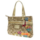 Authentic COACH  Logo print Shoulder Bag Canvas