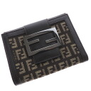 Authentic FENDI  Zucca Bifold Wallet with Coin Pocket Canvas