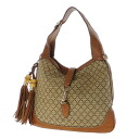 Authentic GUCCI  2way tassel design Shoulder Bag Leather canvas x x straw