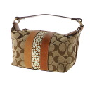 Authentic COACH  Signature design Cosmetics Pouch Leather x canvas