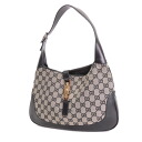 Authentic GUCCI  GG pattern Jackie bracket Shoulder Bag Leather x canvas