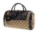 Authentic GUCCI  GG pattern flower motif Handbag Leather x canvas