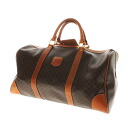 Authentic CELINE  Macadam pattern Travel Boston bag PVCx Leather