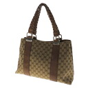 Authentic GUCCI  2-layer bamboo motif GG pattern Shoulder Bag GG canvas x leather