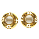 Authentic CHANEL  Fake Pearl Earring Metal