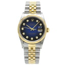 Authentic ROLEX 16233G Blue Gradient combination Overhauled Watch Stainless 18K Yellow Gold an automatic Men