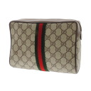 Authentic GUCCI  GG pattern webbing line Cosmetics Pouch PVCx Leather