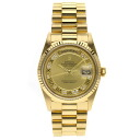 Authentic ROLEX Oyster Perpetual Day-Date 18238MR Overhauled Watch 18K yellow gold  an automatic Men