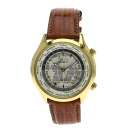 Authentic CITIZEN calibre6000 World Time Watch Gold Plated Leather Solar PoweredQuartz Men
