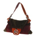 Authentic ETRO  Logo metal fittings Shoulder Bag Suede