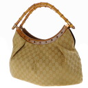 Authentic GUCCI  GG pattern Bamboo Shoulder Shoulder Bag Leather x canvas