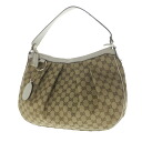 Authentic GUCCI  GG pattern charm Shoulder Bag Leather x canvas