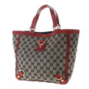 Authentic GUCCI  Tote GG pattern Handbag Leather x canvas