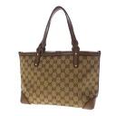 Authentic GUCCI  GG pattern stitch Handbag GG canvas x leather