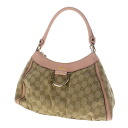 Authentic GUCCI  D-ring design logo engraved GG pattern Handbag GG canvas x leather