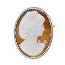 Cameo Brooch K14 White Gold  13.7