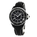 Authentic CHANEL J12 H0680 Watch Stainless Black leather Quartz Women