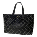 Authentic CHANEL  Wild stitch COCO Mark double magnet button Tote Bag Leather