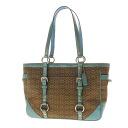 Authentic COACH  Belt motif mini signature pattern Shoulder Bag Canvas x enamel