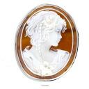 Cameo woman motif Brooch PlatinumPT900 K14 15.4