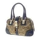 Authentic GUCCI  Horsebit pattern belt motif Hardware double zipper Handbag Canvas x leather