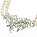 Authentic POLA  Pearl Necklace PlatinumPT900 K14YG