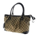 Authentic GUCCI  GG logo pattern Charm 2way Shoulder Bag Leather x canvas