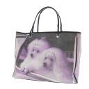 Authentic Anya Hindmarch  Double snap button print design dog logo Handbag Canvas x leather