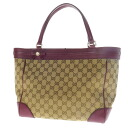 Authentic GUCCI  GG pattern ribbon motif logo with Hardware Tote Bag GG canvas x leather