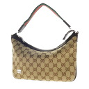 Authentic GUCCI  Gucci GG pattern ribbon design handle with logo plate Handbag GG canvas x leather