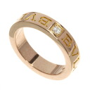 Authentic BVLGARI  Double logo 1PD Ring 18K pink gold