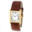 Authentic CARTIER Tankusoro LM W5200004 Watch Stainless Leather Quartz Men