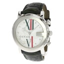 Authentic GUCCI YA101M 9P Diamond Watch Leather SS Quartz Men