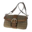 Authentic COACH  Mini Signature 1466 Shoulder Bag Canvas Leather