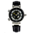 Authentic LOUIS VUITTON Spin time GMT W10C3 Watch Black leather 18KWG an automatic Men
