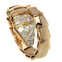 Authentic BVLGARI  Serupenti Diamond Ring 18K pink gold
