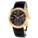 Authentic CARTIER Caribbean Rudo~u Cartier W7100007 Watch Brown leather 18K Pink Gold an automatic Men