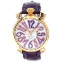 Authentic Gaga Milano Manuare 40MM 5021.4 Watch Purple leather SS Quartz Men