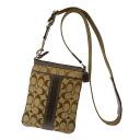 Authentic COACH  Pochette signature pattern Shoulder Bag Leather x canvas