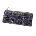 Authentic MIUMIU  Star pattern with logo AYERS PAINTED (With Coin Pocket) Long Wallet Leather