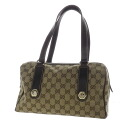 Authentic GUCCI  GG logo pattern with Hardware Shoulder Bag Leather x canvas