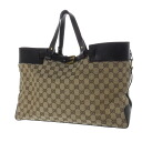 Authentic GUCCI  GG pattern belt design Tote Bag Leather x canvas
