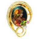Authentic MITSUO KAJI  Diamond / Peridot / Pink Sapphire Brooch 18K yellow gold Pt900