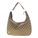 Authentic GUCCI  GG pattern with logo plate Shoulder Bag Canvas x leather