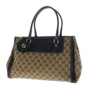 Authentic GUCCI  GG pattern Wide Shoulder Bag Leather x canvas