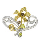 Authentic 岩倉康二  Flower motif diamond top Brooch 18K yellow gold Pt900