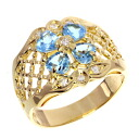 0.09ct Blue Topaz Ring 18K pink gold  Five
